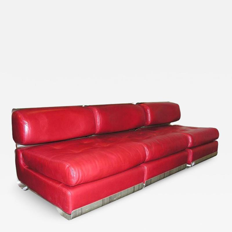 Custom Leather and Metal Three Seat Sofa