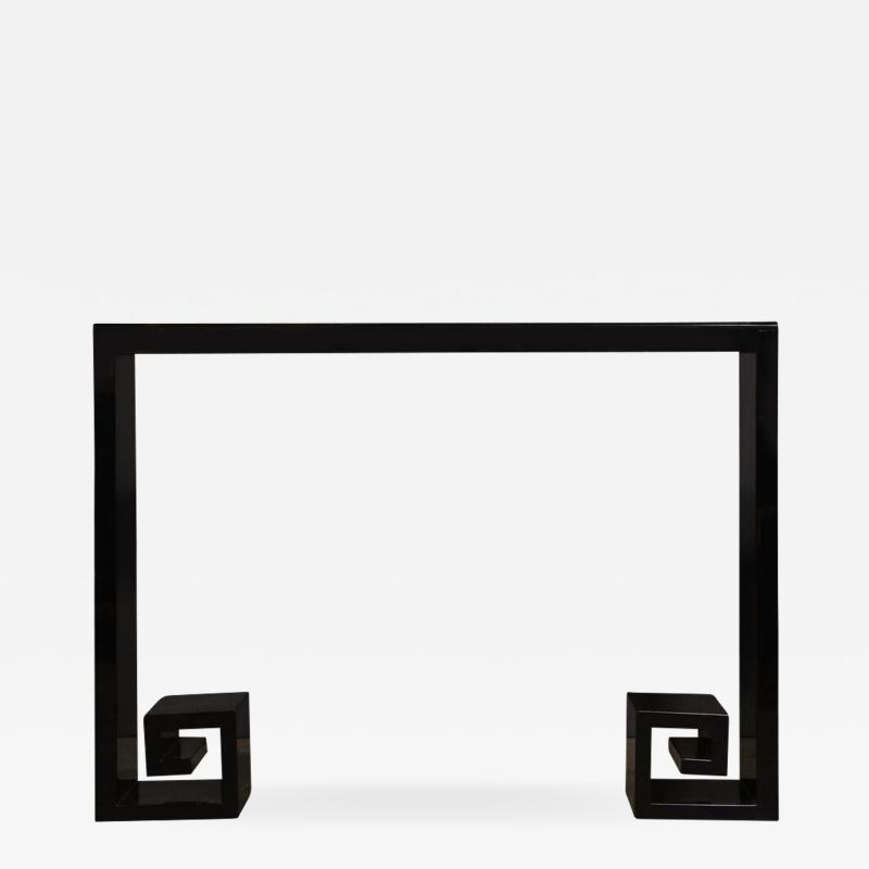 Custom Modernist Black Lacquer Console with Greek Key Detailing