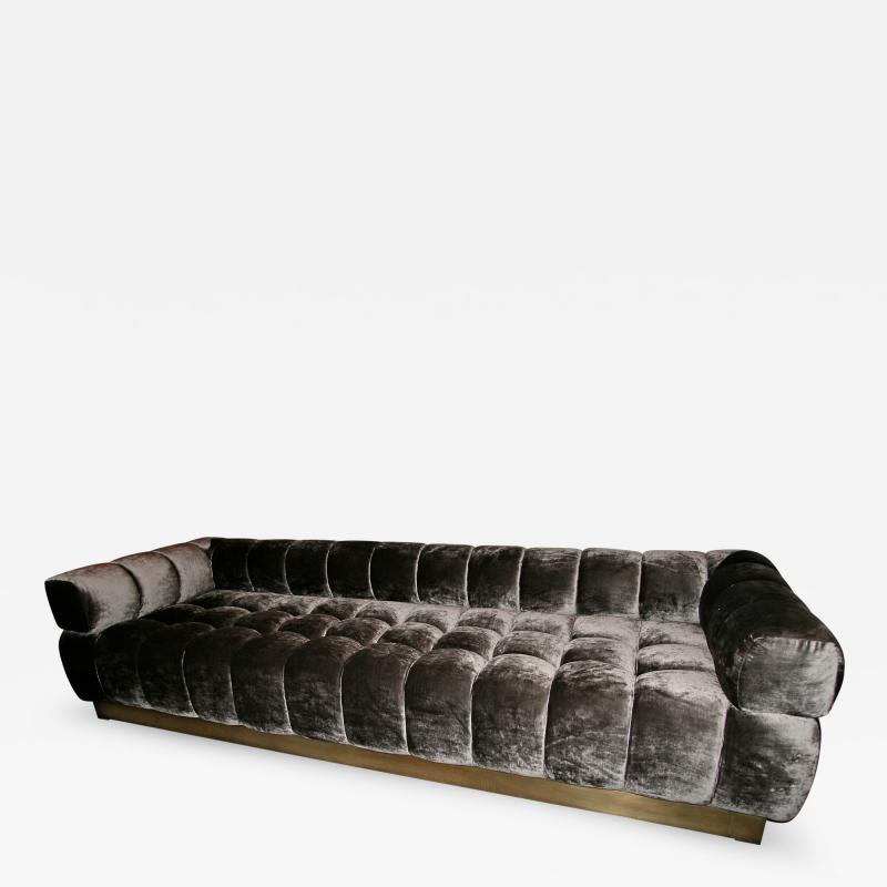 Custom Tufted Charcoal Brown Velvet Sofa with Brass Base
