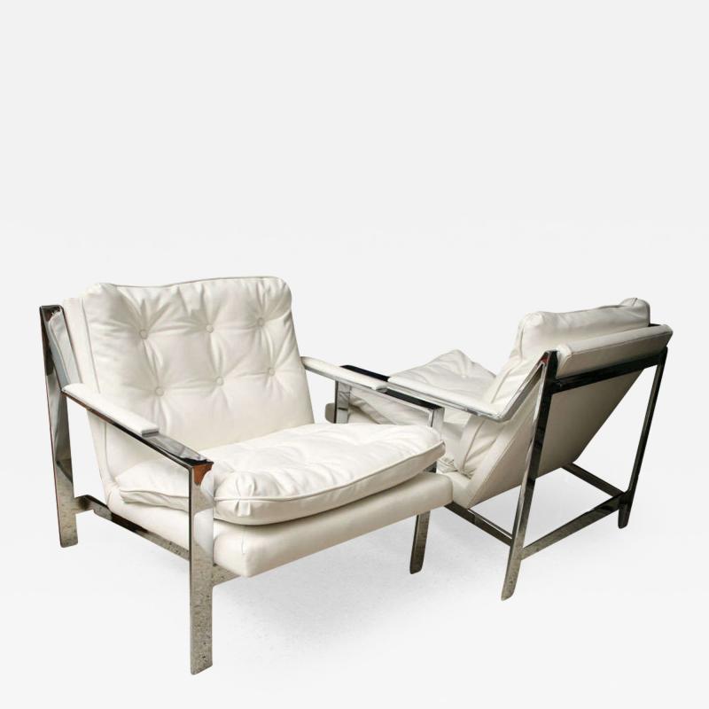 Cy Mann Pair of Cy Mann Polished Chrome Cube Chairs