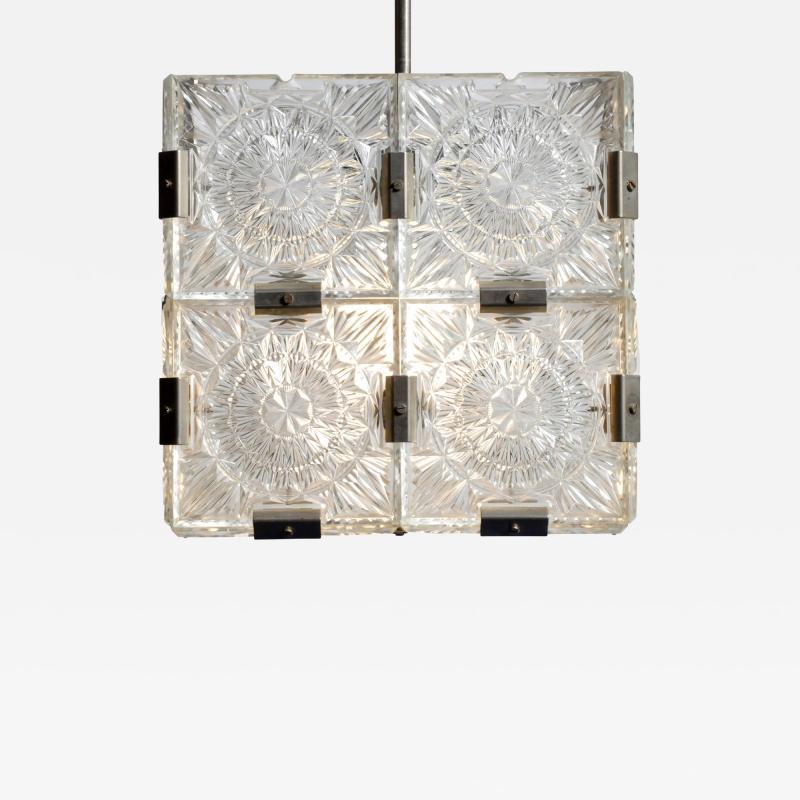 Czech Cast Glass Ceiling Lamp circa 1950