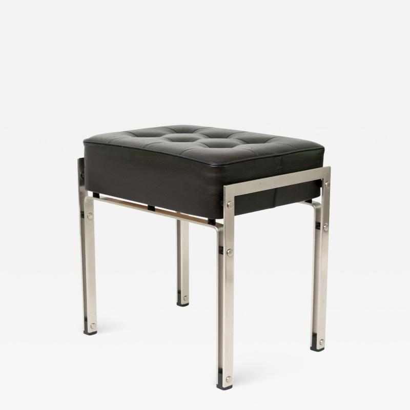 DANISH POLISHED STEEL AND LEATHER BENCH STOOL