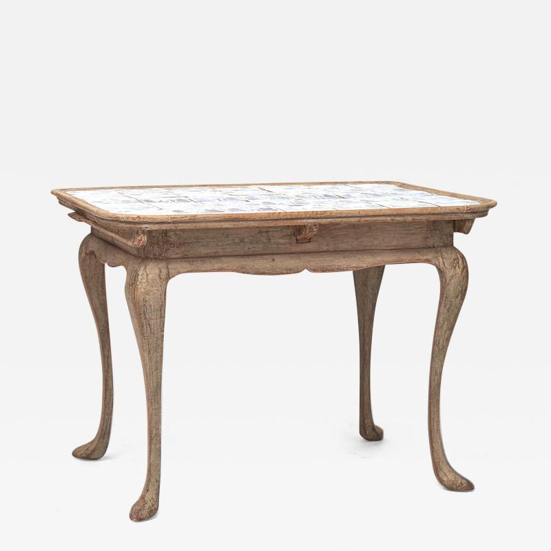 DANISH ROCOCO PAINTED AND TILE TOP TABLE LATE 18TH CENTURY
