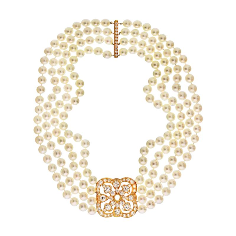 DIAMOND AND PEARL CIRCA 1990 18K YELLOW GOLD NECKLACE