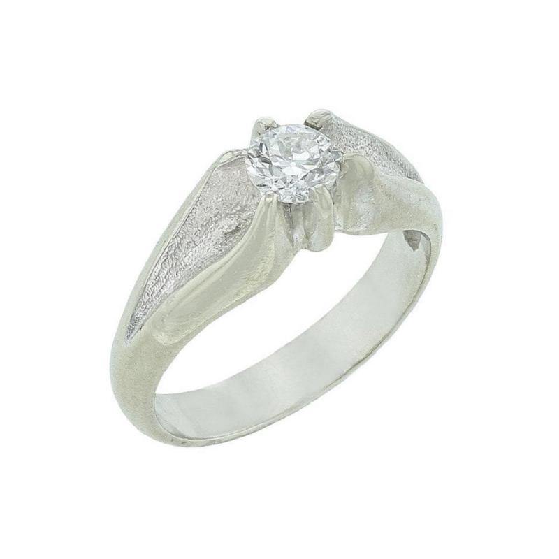 DIAMOND SOLITAIRE RING IN CURVED WHITE GOLD