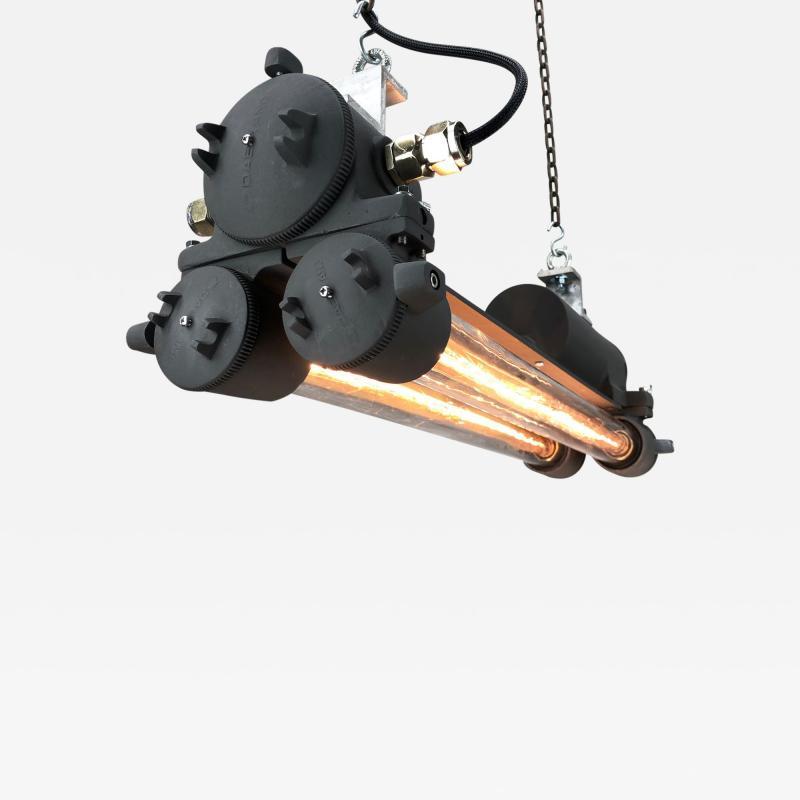Daeyang Electric Company Ltd 1970s Vintage Industrial Black Flameproof Edison Twin Striplight by Daeyang