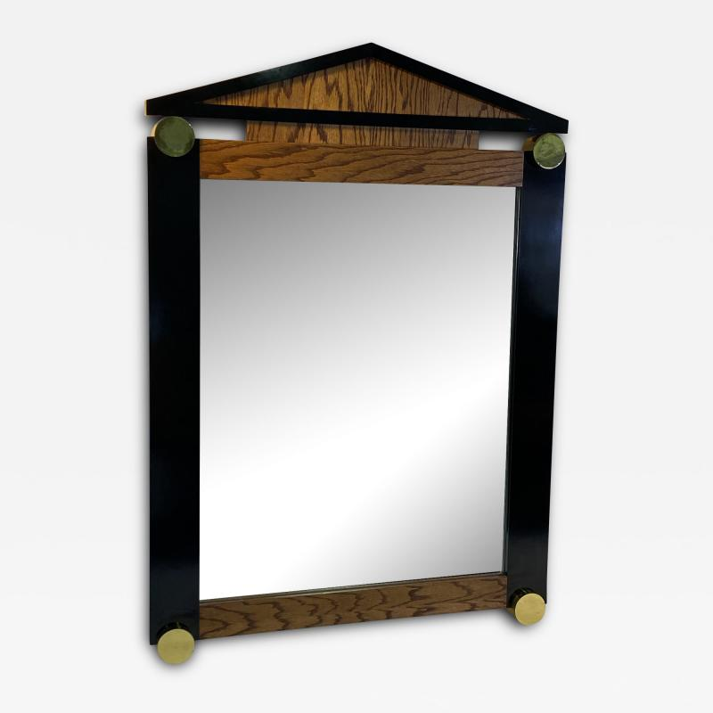 Dakota Jackson POST MODERN OAK BLACK LAMINATE AND GOLD ACCENTS WALL MIRROR