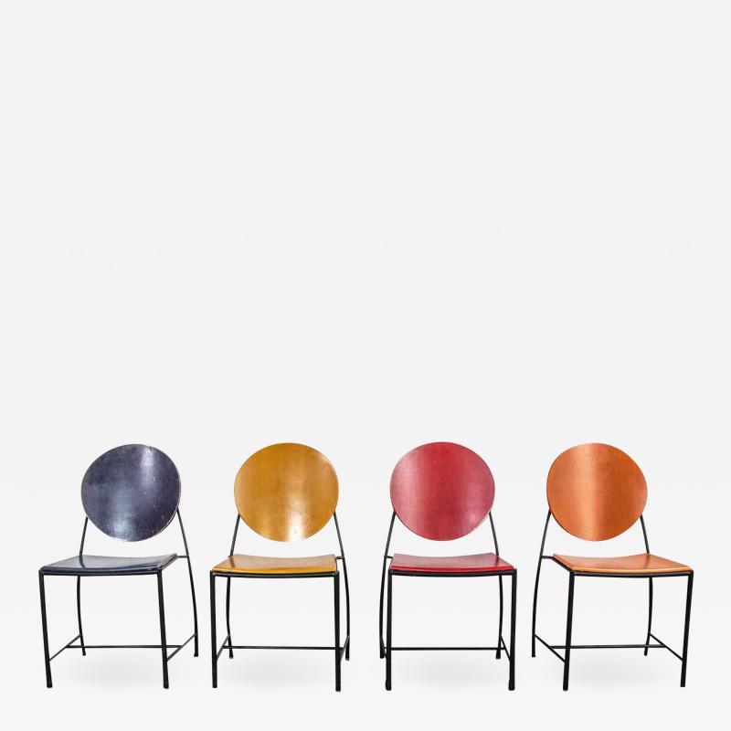 Dakota Jackson Postmodern dakota jackson vik ter dining chairs red yellow orange blue