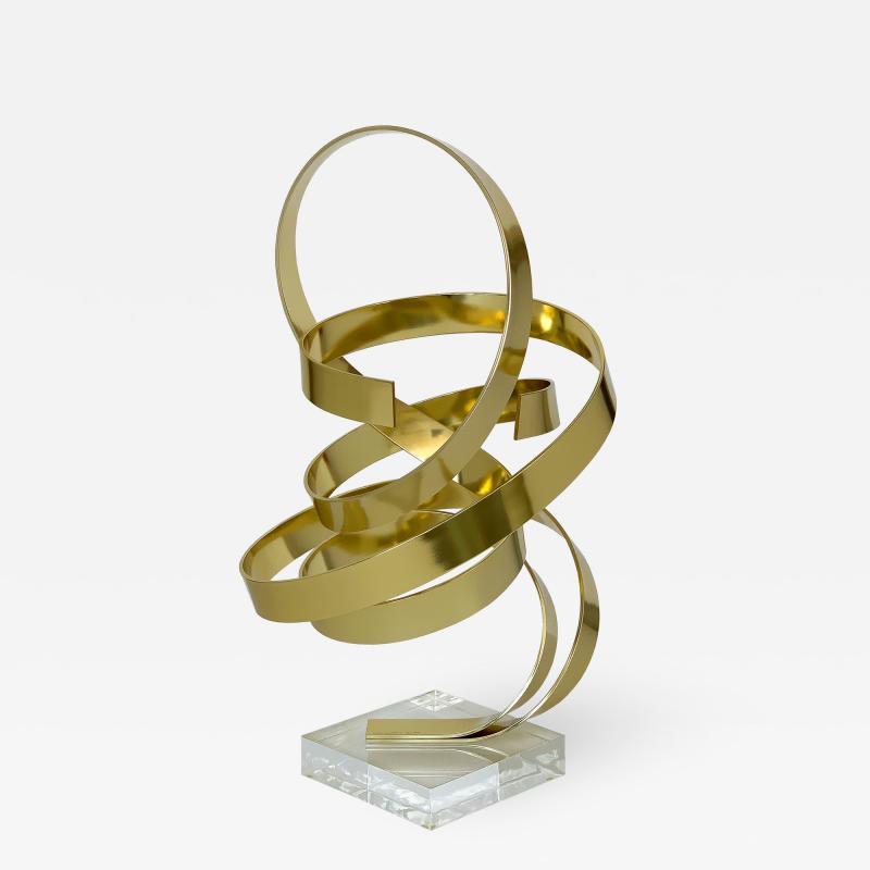 Dan Murphy Dan Murphy Gold Tone Abstract Ribbon Sculpture