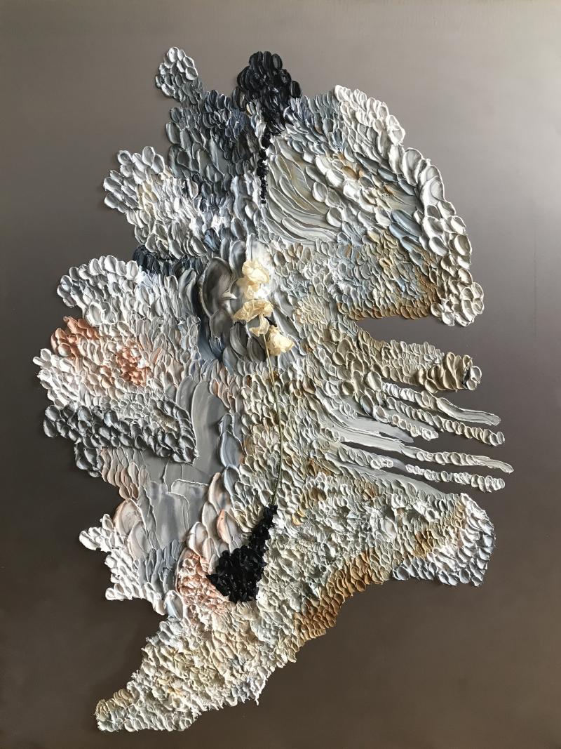 Daniela Busarello INNER LANDSCAPE IL XXVII Oil cold Wax and dried flower on steel mat