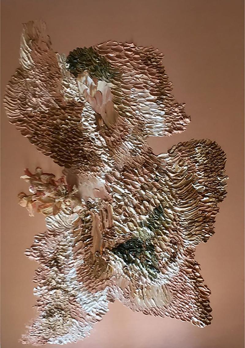 Daniela Busarello Inner Landscapes XXII Oil and Peonias on Copper