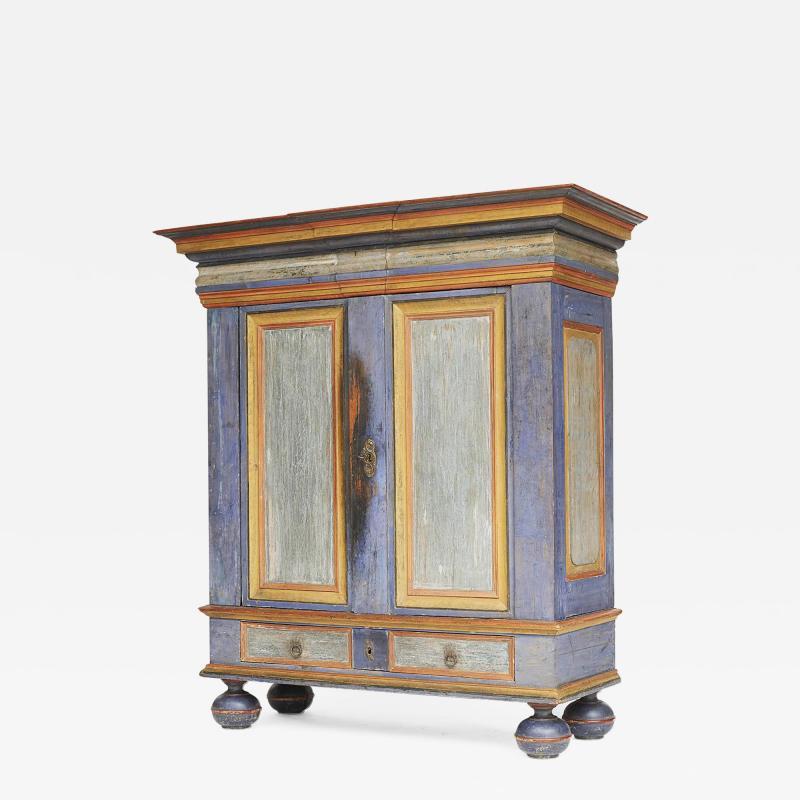 Danish Baroque Painted Cabinet Mid 18th Century Original Paint