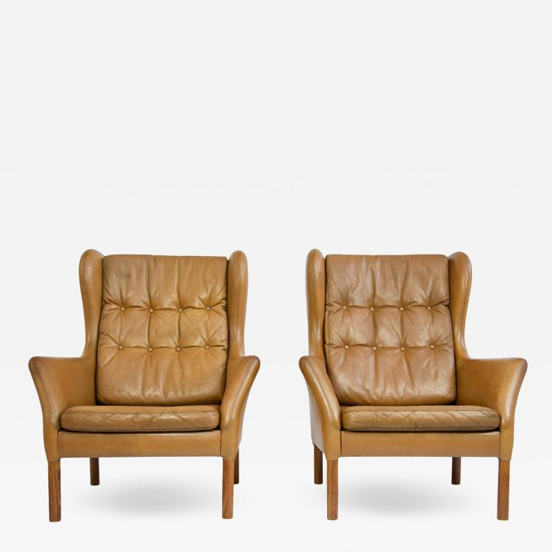 Danish Leather High Back Chairs