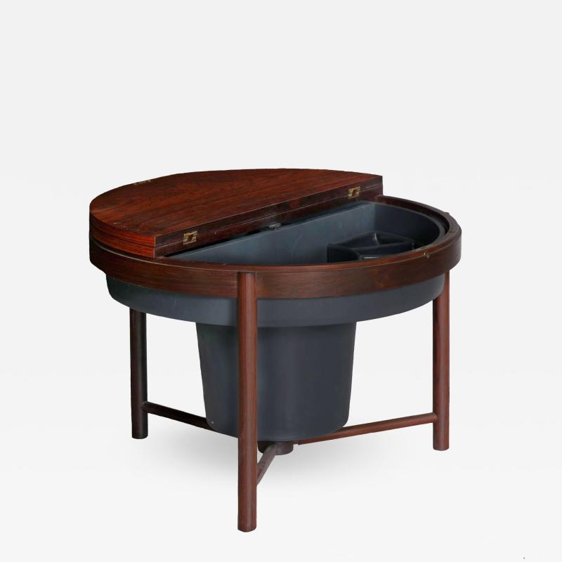 Danish Mid Century Modern Rosewood Cocktail Serving Table w Ice Bucket