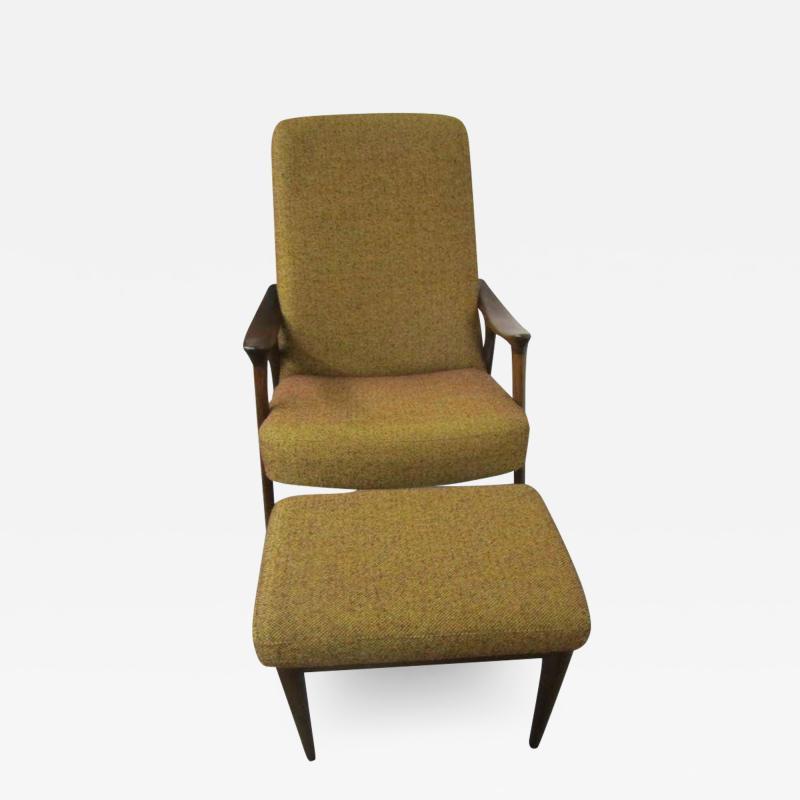 Danish Modern Scoop Arm Walnut Lounge Chair with Adjustable Ottoman