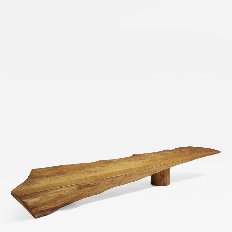 Danish Nine Foot Axe Hewn Freeform Low Table Bench in Elm 1950s