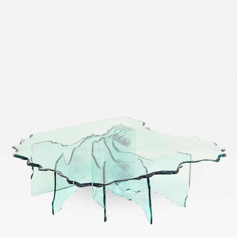 Danny Lane Huge Crystal Cut Glass Shell Coffee Table by Danny Lane for Fiam