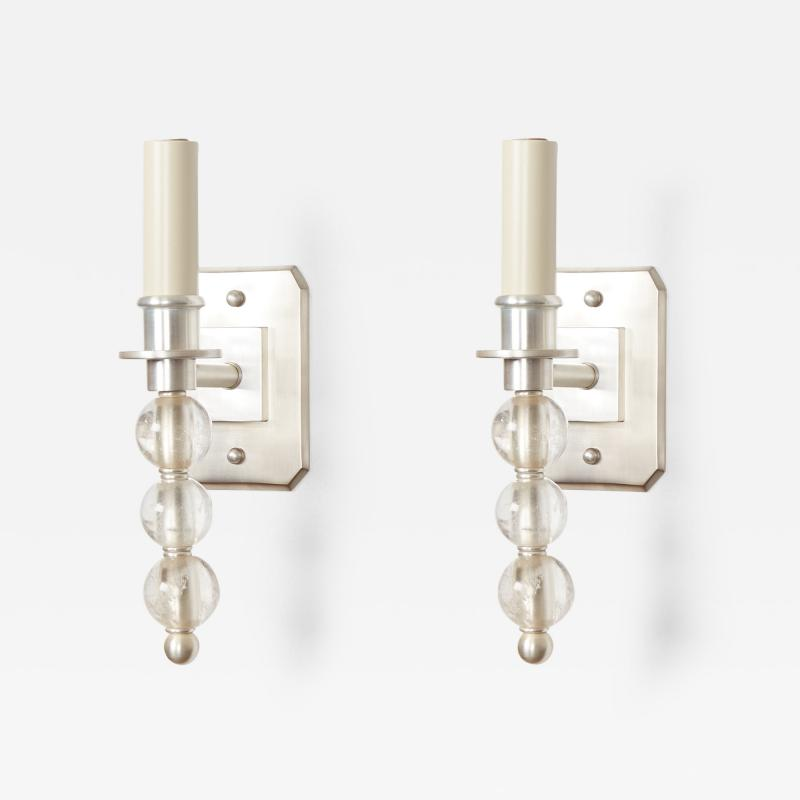David Duncan Silvered Ephorus Sconces With Rock Crystal by David Duncan