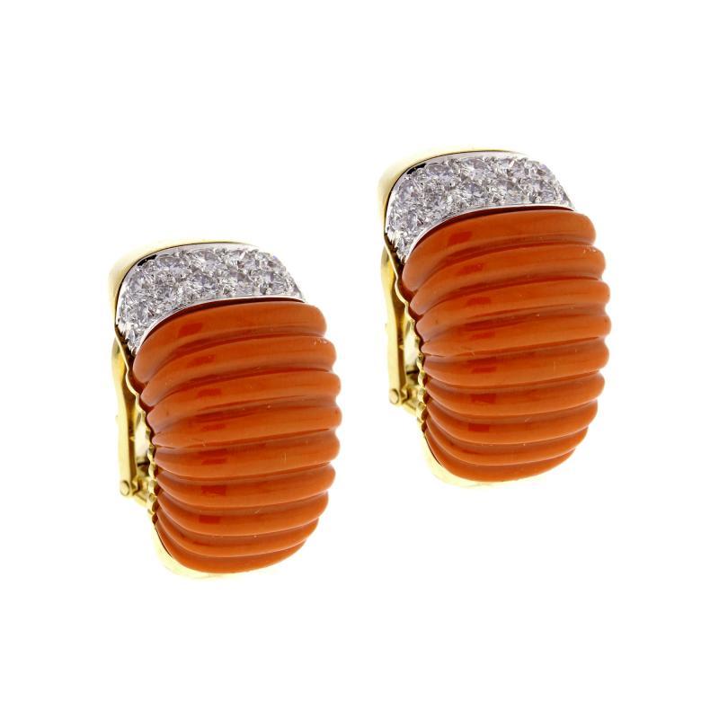 David Webb Coral and Diamond Earrings