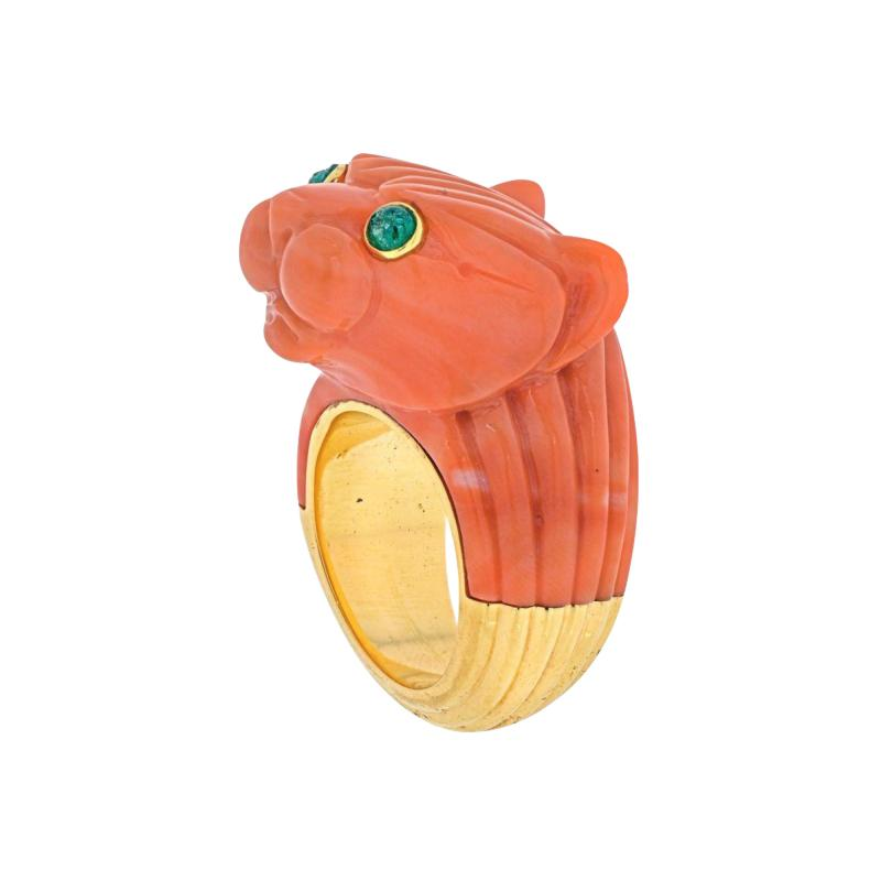 David Webb DAVID WEBB 18K TWO TONE SOLID FLUTED CORAL PANTHERE LION RING