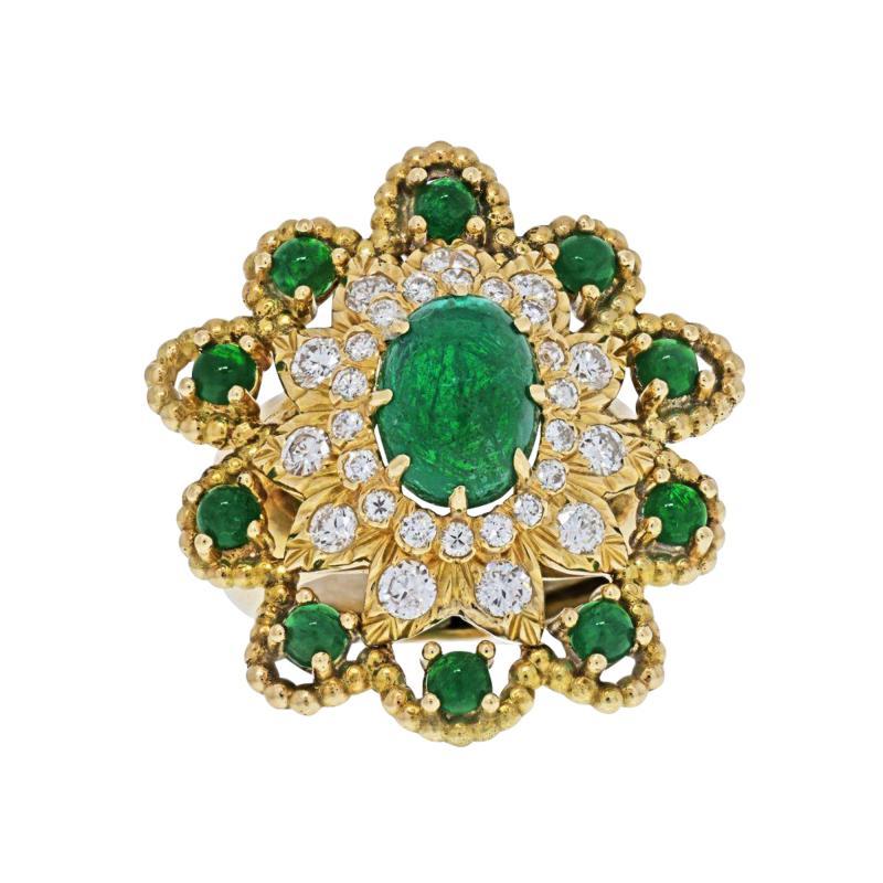 David Webb DAVID WEBB 18K YELLOW GOLD CABOCHON EMERALD DIAMOND FLOWER RING