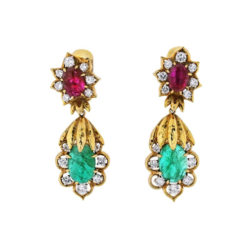 David Webb DAVID WEBB 18K YELLOW GOLD DIAMOND EMERALD RUBY EARRINGS