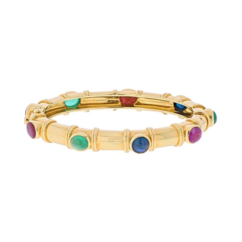 David Webb DAVID WEBB 18K YELLOW GOLD MULTI COLOR GEMSTONE BRACELET