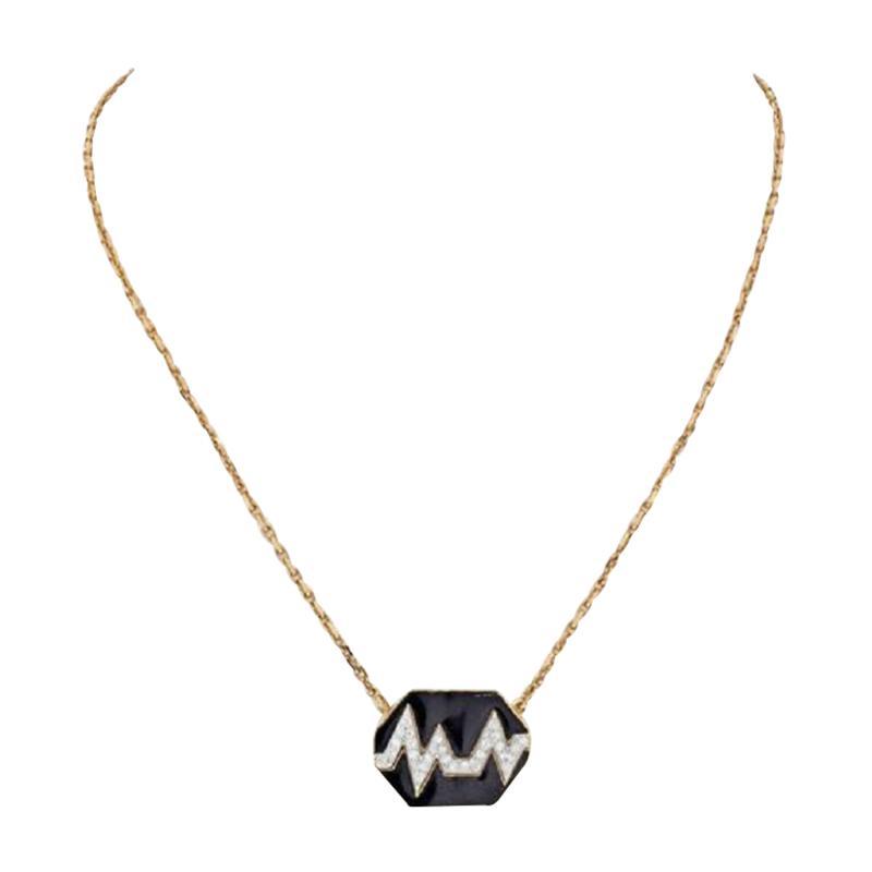 David Webb DAVID WEBB 18K YELLOW GOLD SKIP BLACK ENAMEL DIAMOND PENDANT