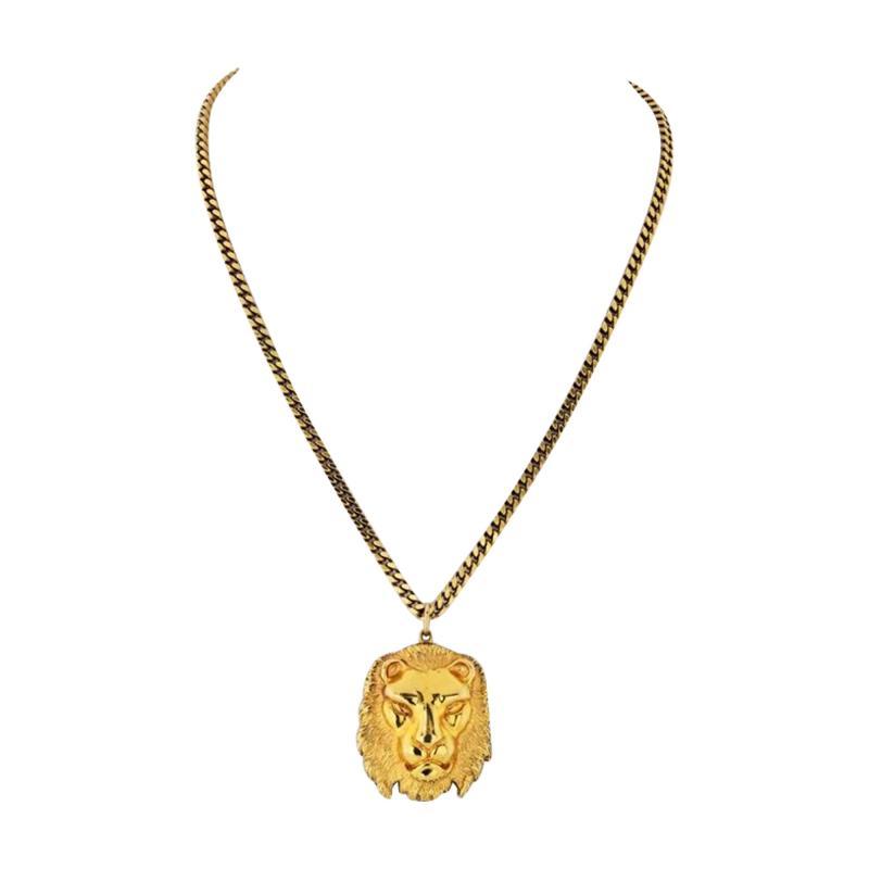 David Webb DAVID WEBB 1970S 18K YELLOW GOLD LION HEAD ON A FRANCO CHAIN MEDALLION PENDANT