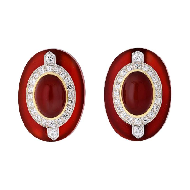 David Webb DAVID WEBB CARNELIAN PLATINUM 18K YELLOW GOLD DIAMOND CLIP EARRINGS