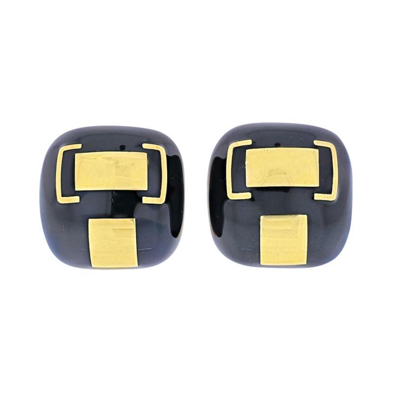 David Webb DAVID WEBB PLATINUM 18K YELLOW GOLD BLACK ENAMEL CUSHION CLIP ON EARRINGS