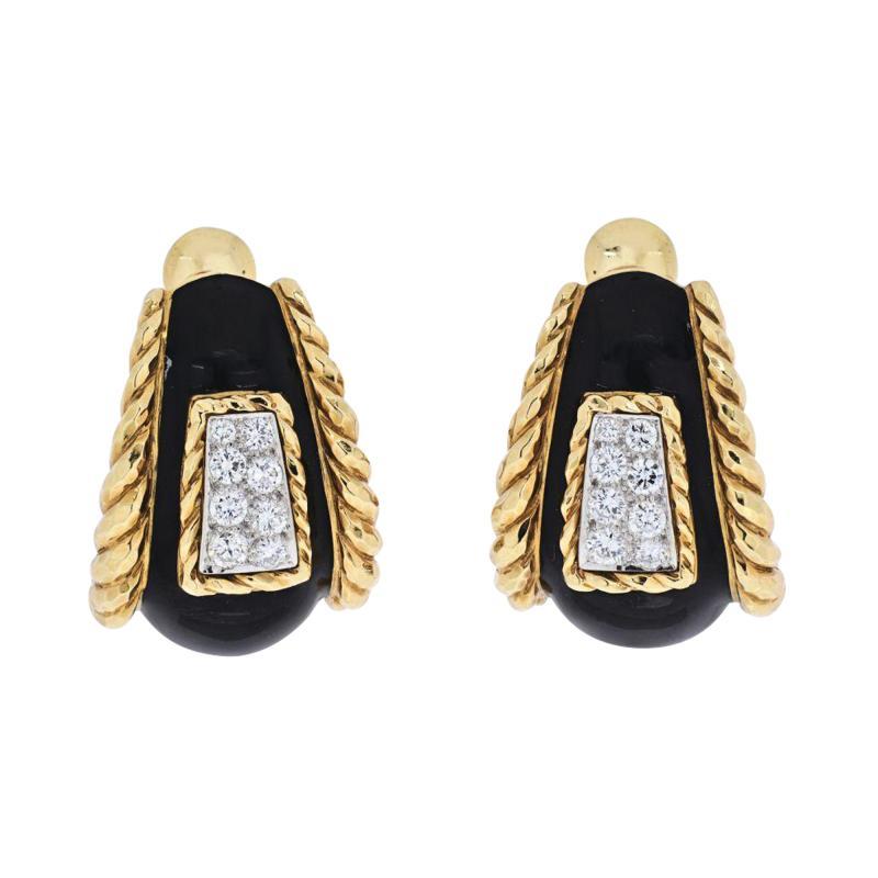 David Webb DAVID WEBB PLATINUM 18K YELLOW GOLD BLACK ENAMEL DIAMOND EARRINGS