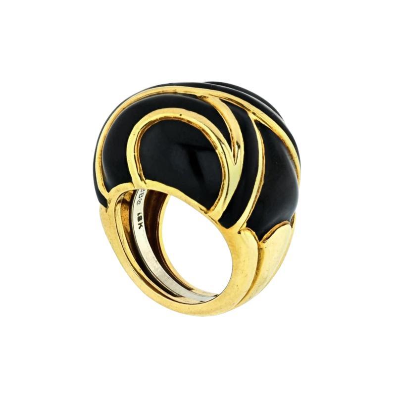David Webb DAVID WEBB PLATINUM 18K YELLOW GOLD BOMBE BLACK ENAMEL RING