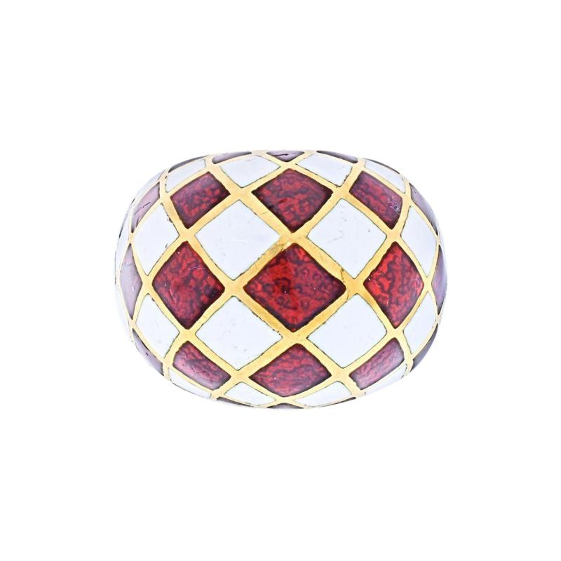David Webb DAVID WEBB PLATINUM 18K YELLOW GOLD CHECKERBOARD DOME RING