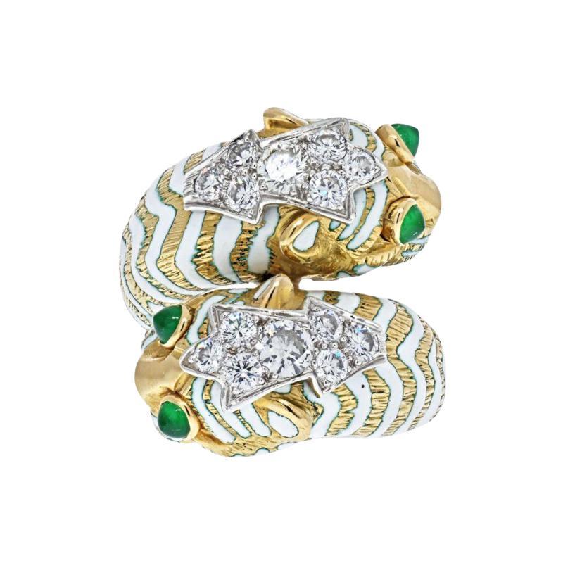 David Webb DAVID WEBB PLATINUM 18K YELLOW GOLD CROSSOVER TIGER RING