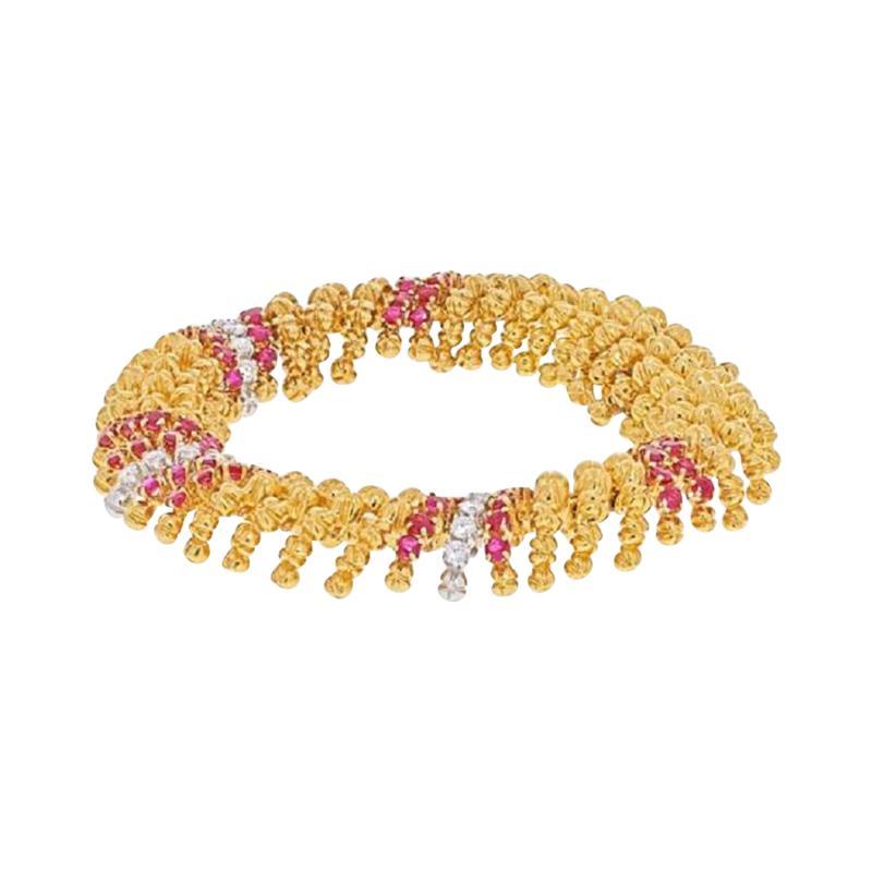 David Webb DAVID WEBB PLATINUM 18K YELLOW GOLD DIAMOND AND RUBY BRACELET
