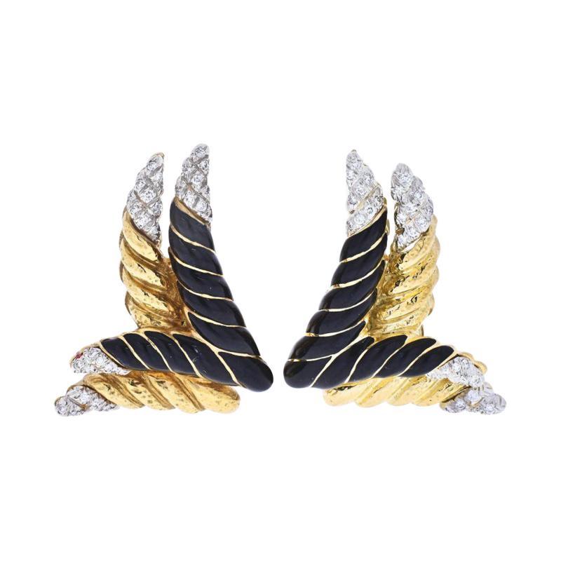 David Webb DAVID WEBB PLATINUM 18K YELLOW GOLD ORIGINAL BLACK ENAMEL AND DIAMOND EARRINGS