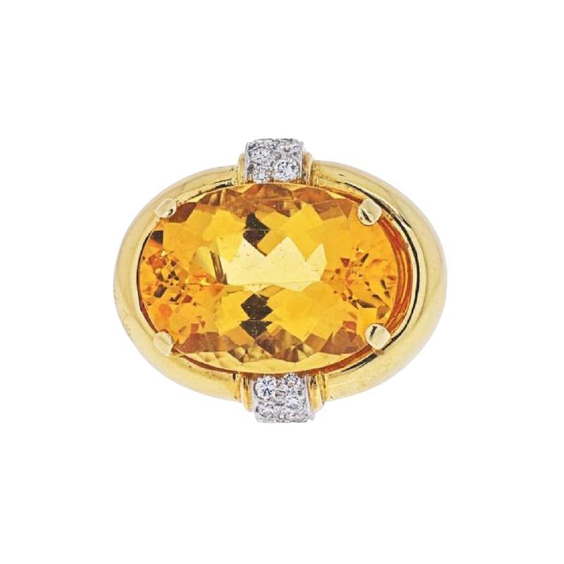 David Webb DAVID WEBB PLATINUM 18K YELLOW GOLD OVAL CITRINE AND DIAMOND RING