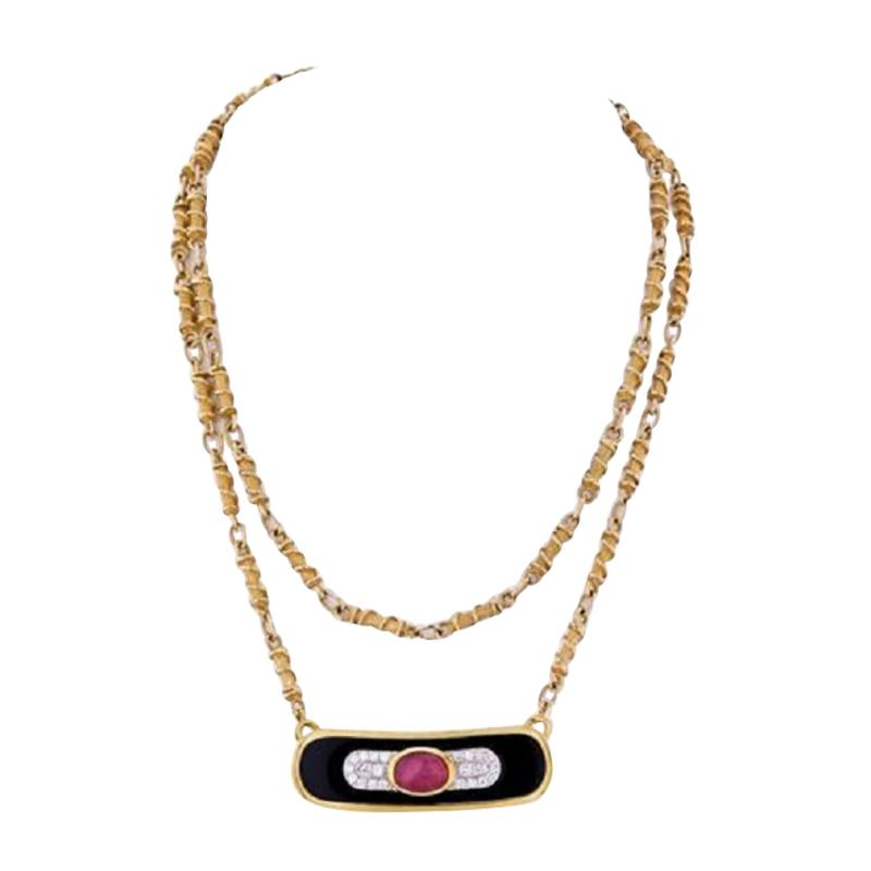 David Webb DAVID WEBB PLATINUM 18K YELLOW GOLD RUBY DIAMOND AND LACQUER PENDANT NECKLACE