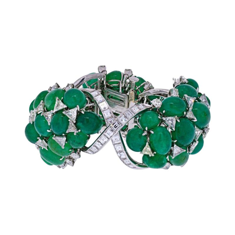 David Webb DAVID WEBB PLATINUM GREEN EMERALD AND DIAMOND FLEXIBLE BRACELET