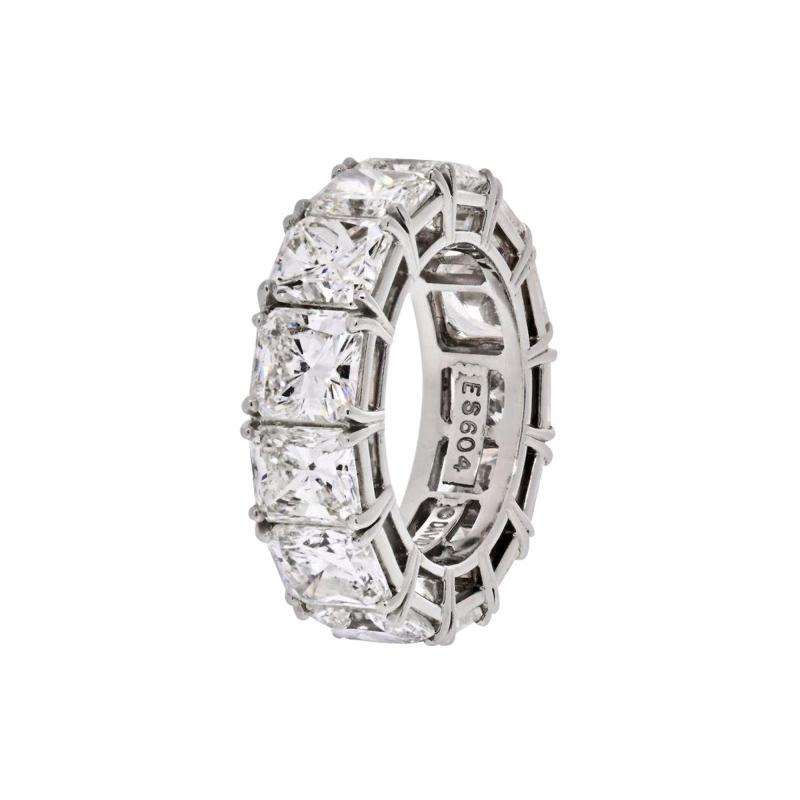 David Webb DAVID WEBB PLATINUM RADIANT CUT DIAMOND 12 92 CARAT ETERNITY BAND