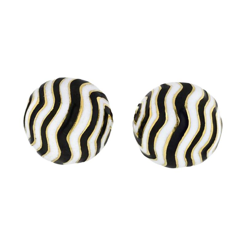 David Webb DAVID WEBB ZEBRA 18K YELLOW GOLD STRIPE CUFF LINKS