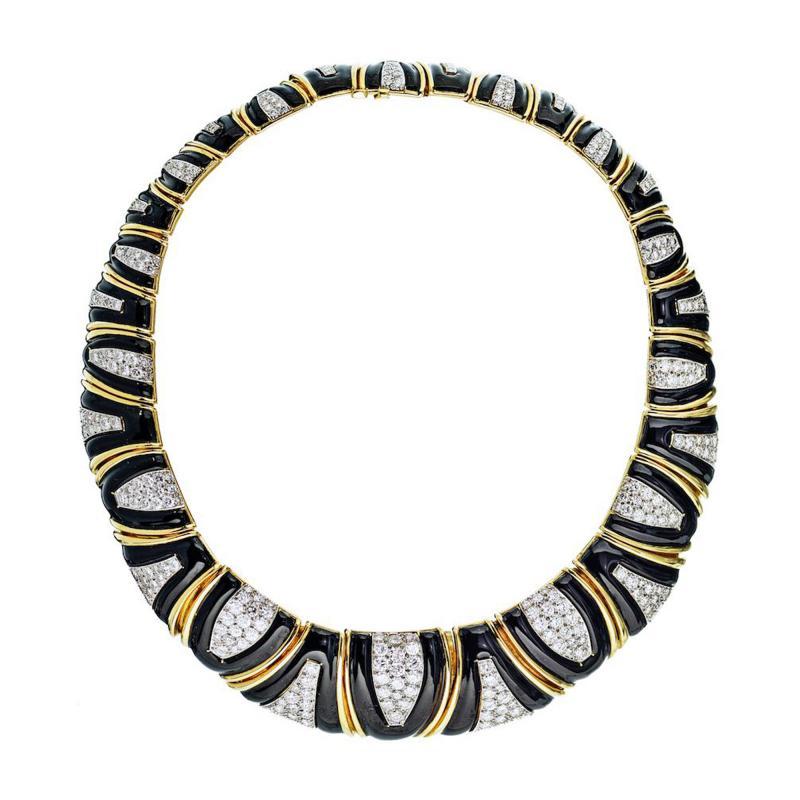 David Webb David Webb 18K Gold Black Enamel Diamond Bib Choker Necklace