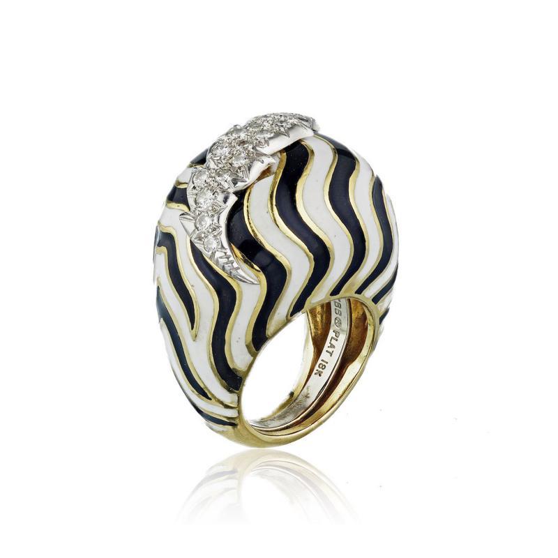 David Webb David Webb 18K Gold Black and White Bombe Diamond Enamel Ring