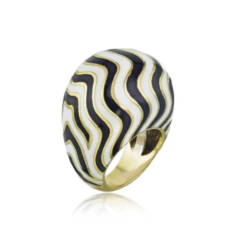 David Webb David Webb 18K Gold Bombe Zebra Ring