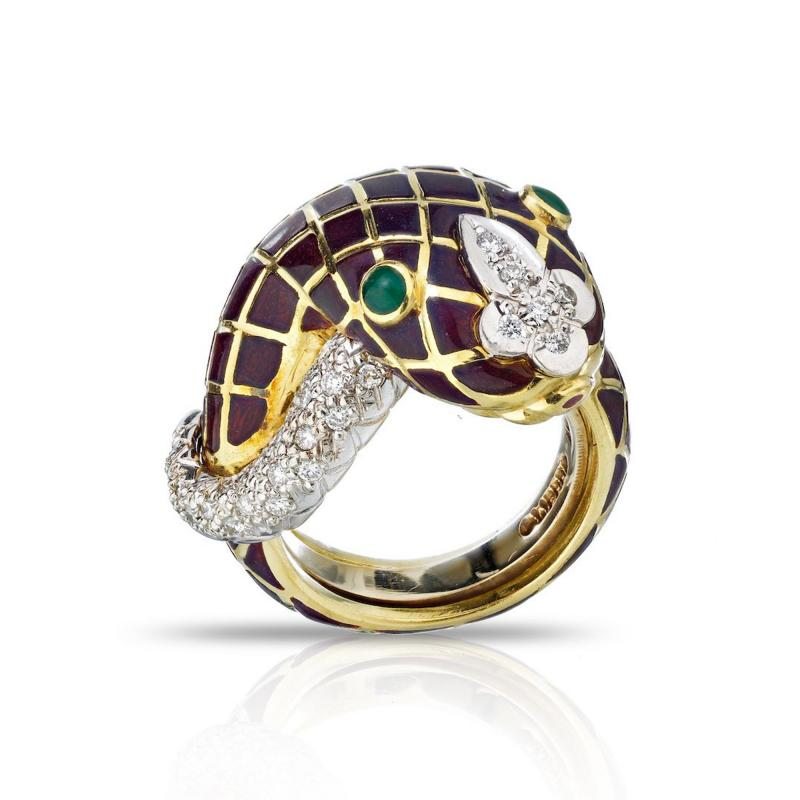 David Webb David Webb 18K Gold Diamond Enamel Snake Ring