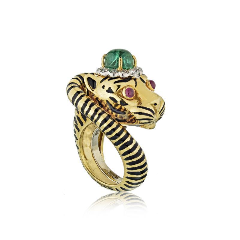 David Webb David Webb 18K Gold Emerald Diamond Tiger Ring