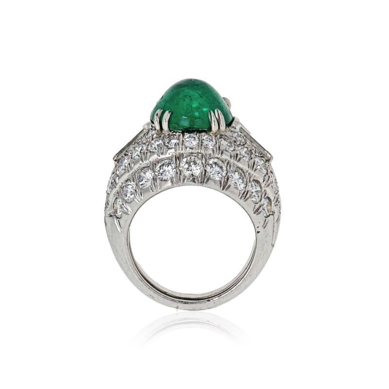 David Webb David Webb 18K Gold Green Emerald And Diamond Bombe Ring