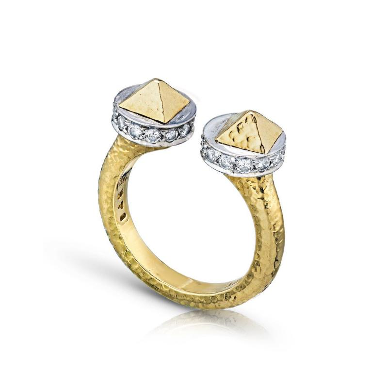 David Webb David Webb 18K Gold Hammered Finish and Diamond Ring