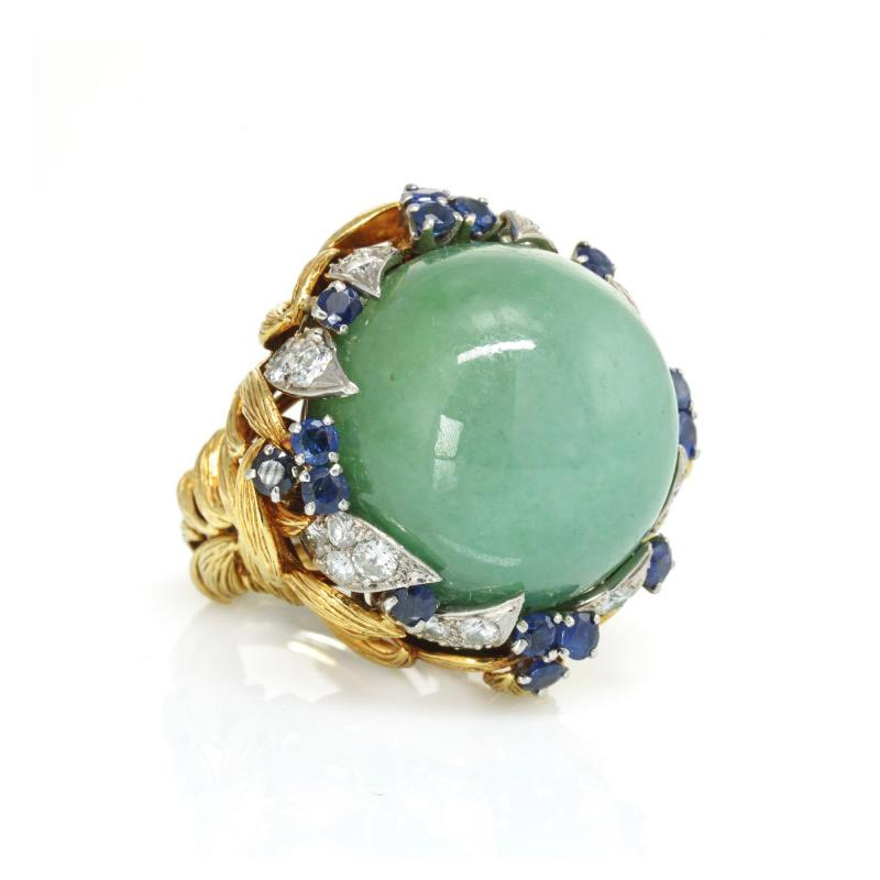 David Webb David Webb 18K Gold Jade Cabochon with Sapphires and Diamonds Ring